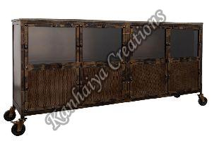 Solid Mango Wood Glass and Iron Sideboard