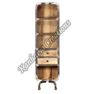 Solid Mango Wood with Natural Finish and Cast Iron Storage Cabinet