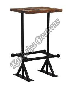 Solid Reclaimed Tabletop Wood and Powder Coated Steel Legs Center Table
