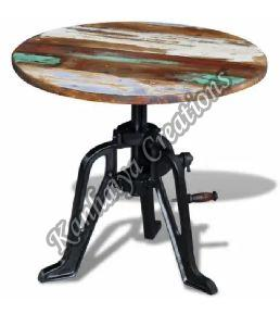Solid Reclaimed Wood and Cast Iron Center Table