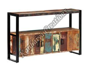 Solid Reclaimed Wood and Powder Coated Steel Storage Cabinet