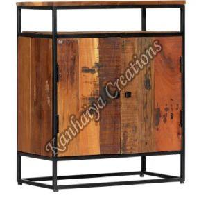 Solid Reclaimed Wood and Powder Coated Steel Frame Storage Cabinet