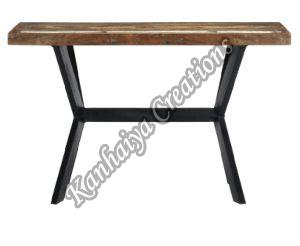 Solid Reclaimed Wood and Powder Coated Steel Legs Center Table