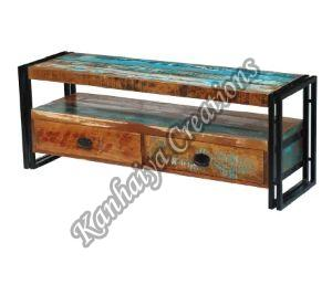 Solid Reclaimed Wood and Steel Frame T.V Stand