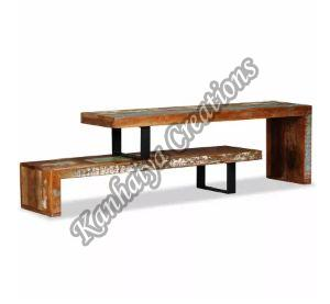 Solid Reclaimed Wood and Wrought Iron Legs T.V Stand