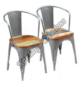Solid Reclaimed Wood and Steel Frame Chair