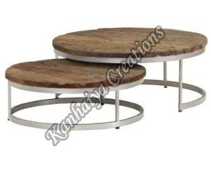 Solid Reclaimed Wood Table Top and Steel Frame Center Table