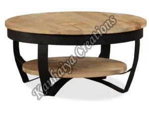 Solid Rough Mango Wood and Powder Coated Steel Legs Center Table