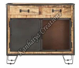 Solid Rough Mango Wood and Steel Storage Cabinet