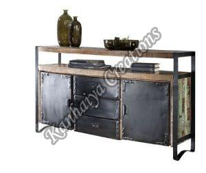 150x43x90 cm Solid Waste Wood and Iron Sideboard