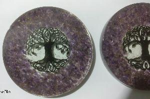 Orgonite Amethyst Coaster with Tree Logo