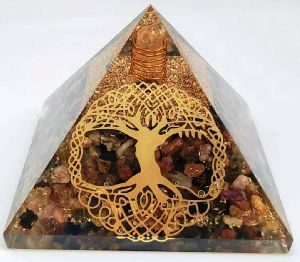 Orgonite Multi Tourmaline Pyramid with Tree Logo