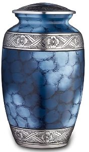 Cremation Urn for Ashes, for Adults up to 200lbs, Blue Funeral Burial Urns w/Satin Bag for Human Ash