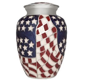 Flag Funeral Urn by M.S HANDICRAFTS - Cremation Urn for Human Ashes -Hand Made in Brass -Suitable f