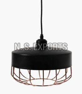 Black & Copper Finish Wire Cage Hanging Pendant Lamp