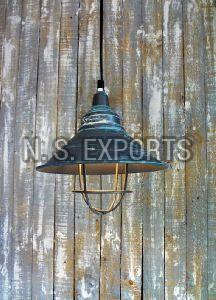 Conical Pendant Lamp with WIre Cage