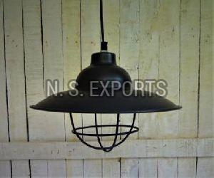 Conical Wire Pendant Lamp with WIre Cage