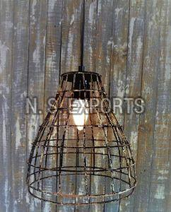 Distress Mud Finish Conical Wire Pendant Lamp