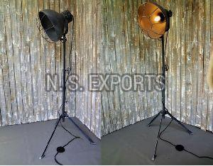Round Floor Lamp with WIre Cage