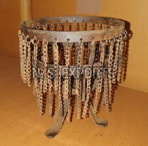 Rust Finish Chain Candle Pillar Holder