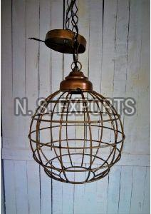 Antique Gold Wire Cage Hanging Pendant Lamp