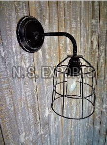 Black Wash Wire Cage Wall Lamp