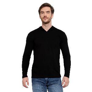 Mens Full Sleeve Black Hooded T-Shirt