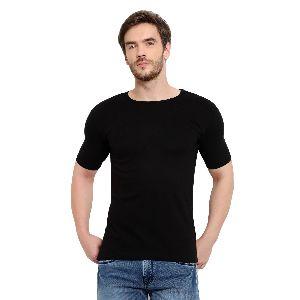 Mens Half Sleeve Black Round Neck T-Shirt