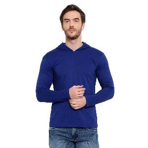 Mens Full Sleeve Blue Hooded T-Shirt