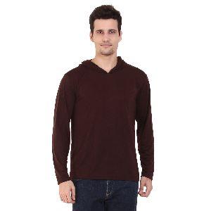 Mens Full Sleeve Brown Hooded T-Shirt
