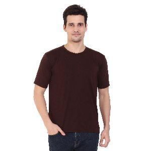 Mens Half Sleeve  Brown Round Neck T-Shirt