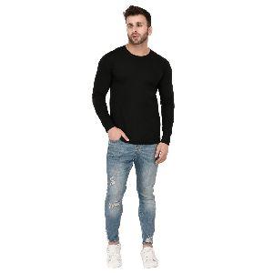 Mens Full Sleeve Black Round Neck T-Shirt
