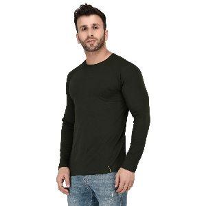 Mens Full Sleeve Green Round Neck T-Shirt