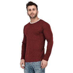Mens Full Sleeve Maroon Round Neck T-Shirt