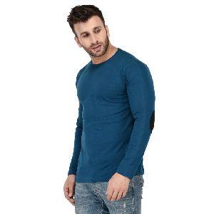 Mens Full Sleeve Teal Blue Round Neck T-Shirt