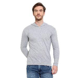 Mens Full Sleeve Grey Hooded T-Shirt