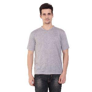 Mens Half Sleeve Grey Round Neck T-Shirt