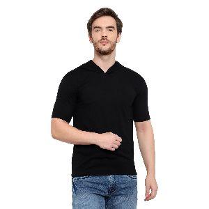 Mens Half Sleeve Black Hooded T-Shirt