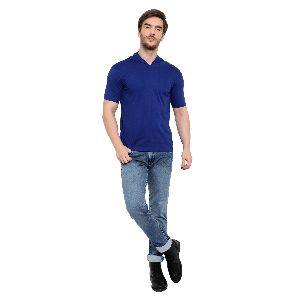 Mens Half Sleeve Blue Hooded T-Shirt