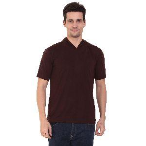 Mens Half Sleeve Brown Hooded T-Shirt