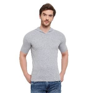 Mens Half Sleeve Grey Hooded T-Shirt