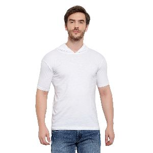 Mens Half Sleeve White Hooded T-Shirt