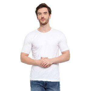 Mens Half Sleeve White Round Neck T-Shirt