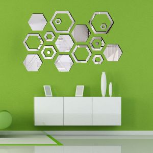 Hexagon Solid & Ring Silver Wall Sticker