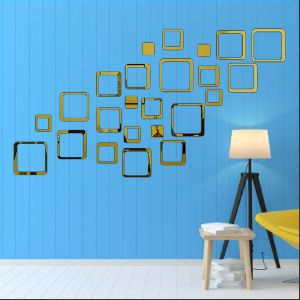 Square Golden Wall Sticker
