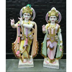 Marble Colored Radha Krishna Statue