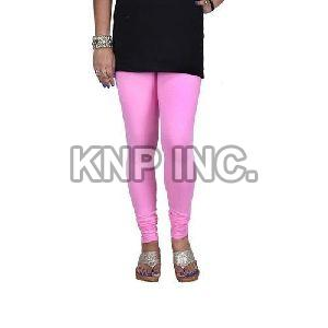 Baby Pink Cotton Lycra V-Cut Leggings