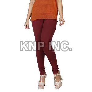 Brown Cotton Lycra Churidar Leggings