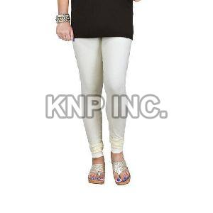 Cream Cotton Lycra Churidar Leggings