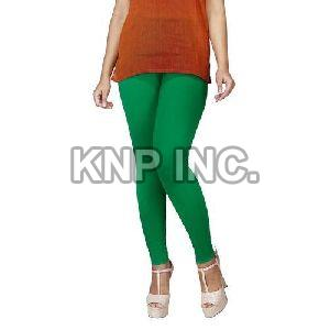 Green Cotton Lycra Kali Ankle Length Leggings